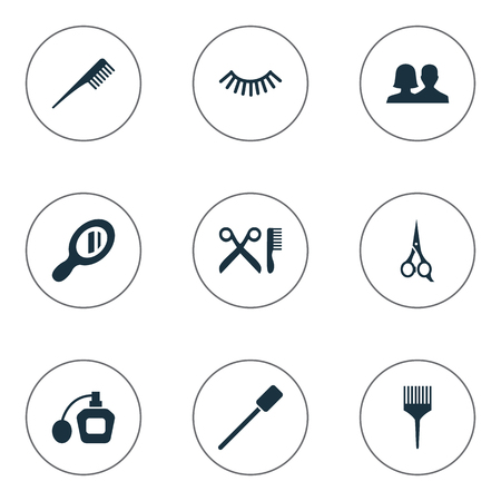 Vector Illustration Set Of Simple Spa Icons. Elements Mascara, Eyelash Brush, Glass And Other Synonyms Brush, Comb And Unisex.