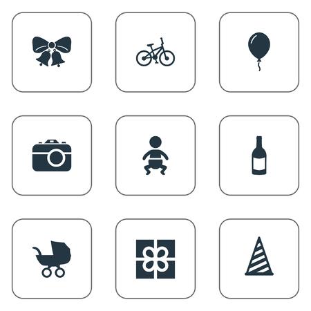 Vector illustratie Set van eenvoudige verjaardag iconen. Elementen Fiets, kinderwagen, pet en andere synoniemenklokken, foto en aerostaat.