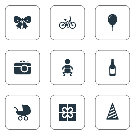 Vector Illustration Set Of Simple Birthday Icons. Elements Bicycle, Baby Carriage, Cap And Other Synonyms Bells, Photo And Aerostat.