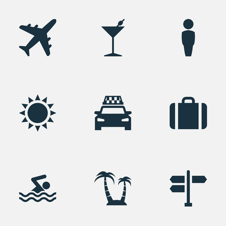 Vector Illustration Set Of Simple Seaside Icons. Elements Crossroad, Suitcase, Cocktail And Other Synonyms Junction, Airplane And Holiday.