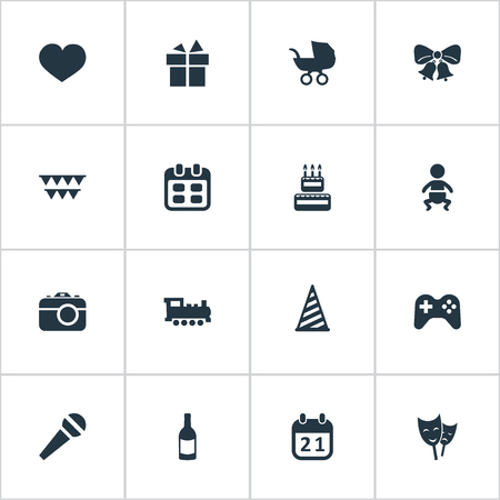 Vector Illustration Set Of Simple Celebration Icons. Elements Camera, Ribbon, Confectionery And Other Synonyms Heart, Soul And Carriage.