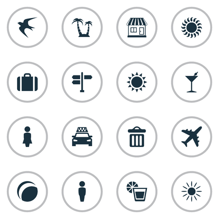 Vector Illustration Set Of Simple Seaside Icons. Elements Taxi, Beach Games, Airplane And Other Synonyms Garbage, Trip And Sun.