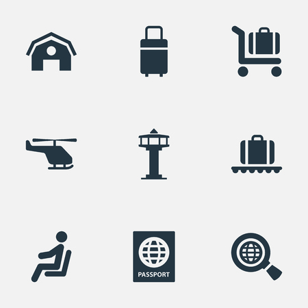 Vector Illustration Set Of Simple Airport Icons. Elements Travel Bag, Garage, Baggage Cart And Other Synonyms Passport, Man And Plane.