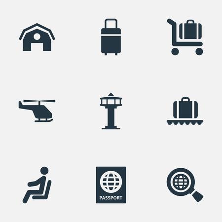 Vector ilustración conjunto de iconos de aeropuerto simple. Bolsa de viaje de Elements, Garaje, Carrito de equipaje y otros sinónimos Pasaporte, hombre y avión. Foto de archivo - 78567899