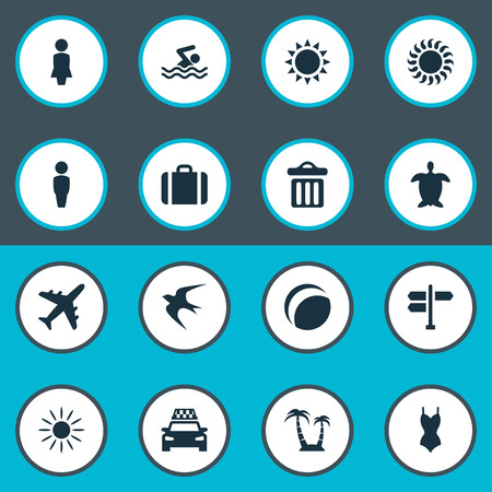 Vector Illustration Set Of Simple Seaside Icons. Elements Beach Games, Suitcase, Male And Other Synonyms Man, Bikini And Games. Illustration