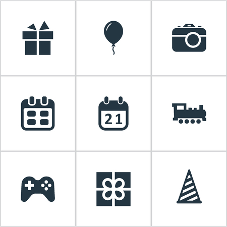 Vector Illustration Set Of Simple Holiday Icons. Elements Camera, Train, Special Day And Other Synonyms Prize, Train And Steam. Ilustração