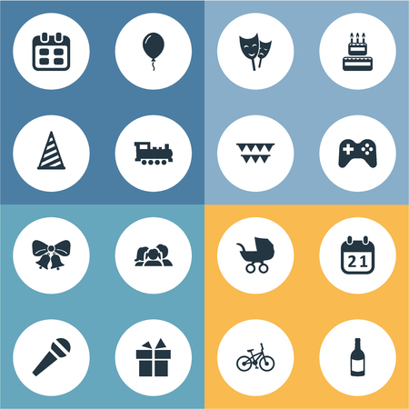 Vector Illustration Set Of Simple Celebration Icons. Elements Decorations;, Game, Resonate And Other Synonyms Fizz, Gift And Jingle.