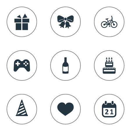 Illustration vectorielle définie des icônes simples de célébration. Elements Cap, Boisson, Âme Et Autres Synonymes Resonate, Jingle And Sweetmeat Banque d'images - 78567927