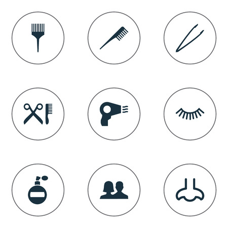 Vector Illustration Set Of Simple Cosmetics Icons. Elements Customers, Crest, Comb And Other Synonyms Dry, Sence And Salon.