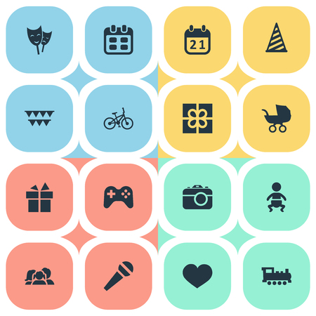 Vector Illustration Set Of Simple Birthday Icons. Elements Speech, Train, Days And Other Synonyms Photo, Actor And Present.
