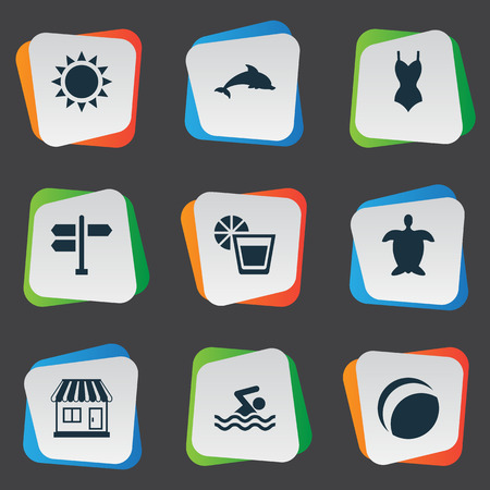Vector Illustration Set Of Simple Beach Icons. Elements Tortoise, Swimming Man, Beach Games And Other Synonyms Turtle, Games And Direction.