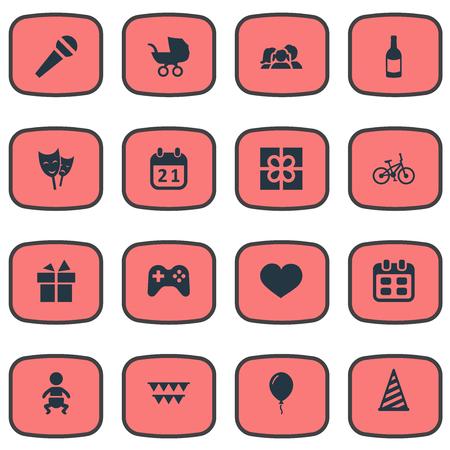 Vector Illustration Set d'icônes d'anniversaire simple. Éléments Baby Chariot, Soul, Décorations; Et autre chapeau, âme et acteur de synonymes. Banque d'images - 78567955