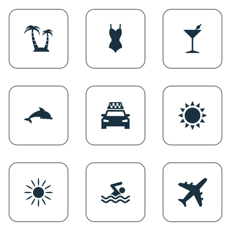 Vector Illustration Set Of Simple Beach Icons. Elements Palm, Cocktail, Bikini And Other Synonyms Swimming, Airplane And Taxi.
