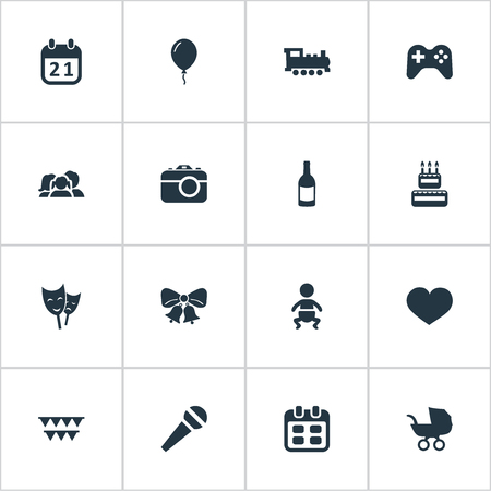 Vector Illustration Set Of Simple Birthday Icons. Elements Special Day, Infant, Soul And Other Synonyms Beverage, Speech And Locomotive.