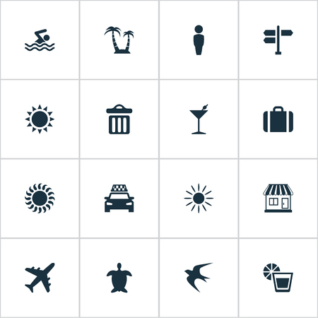 Vector Illustration Set Of Simple Beach Icons. Elements Taxi, Garbage, Cocktail And Other Synonyms Man, Store And Drink.