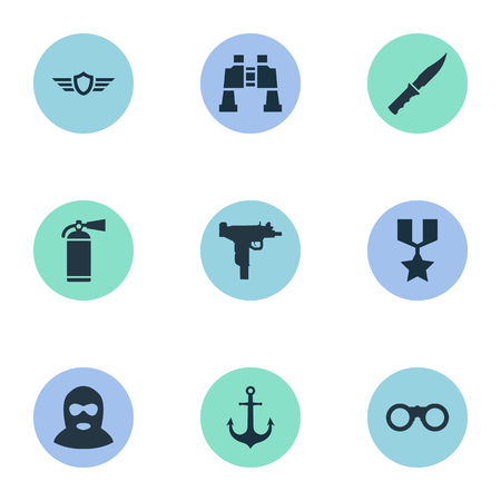 Vector Illustration Set Of Simple War Icons. Elements Ship Hook, Cold Weapon, Firearm And Other Synonyms Firearm, Telescope And Robber.