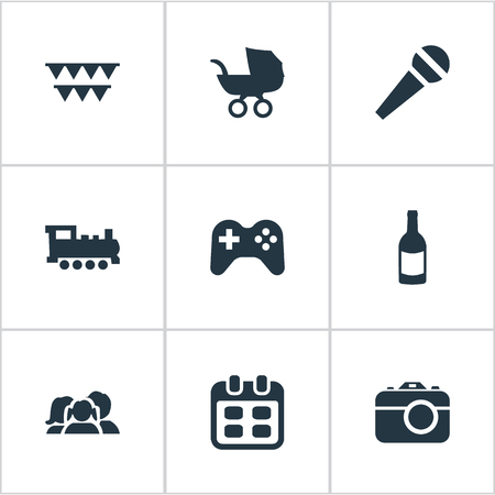 perambulator: Vector Illustration Set Of Simple Holiday Icons. Elements Decorations;, Camera, Days And Other Synonyms Carriage, Schedule And Voice. Illustration