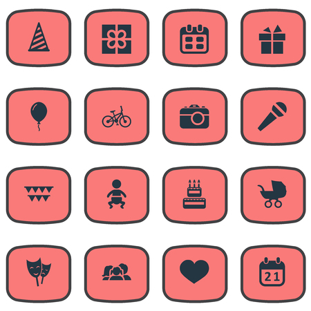 Vector Illustration Set Of Simple Celebration Icons. Elements Cap, Domestic, Confectionery And Other Synonyms Days, History And Hat. Illustration