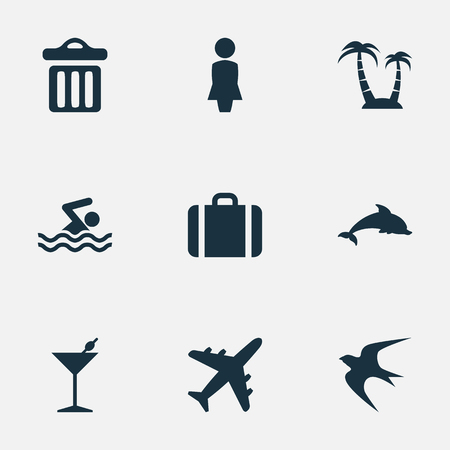 Vector Illustration Set Of Simple Seaside Icons. Elements Cocktail, Woman, Swallow And Other Synonyms Bar, Dustbin And Trash. Illustration