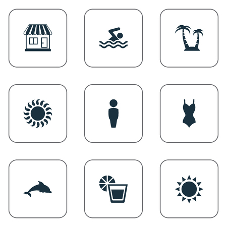 Vector Illustration Set Of Simple Seaside Icons. Elements Male, Beverage, Bikini And Other Synonyms Holiday, Sunshine And Woman.