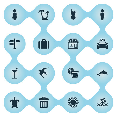 Vector Illustration Set Of Simple Seaside Icons. Elements Woman, Bikini, Sunlight And Other Synonyms Male, Gentleman And Taxi.