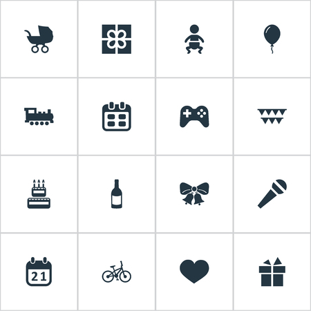 Vector Illustration Set Of Simple Birthday Icons. Elements Game, Resonate, Box And Other Synonyms Days, Baby And Feelings.