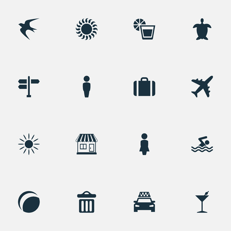 Vector Illustration Set Of Simple Beach Icons. Elements Swimming Man, Tortoise, Male And Other Synonyms Dustbin, Garbage And Crossroad.