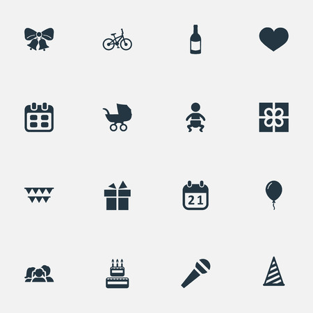 Vector Illustration Set Of Simple Holiday Icons. Elements Speech, Cap, Decorations; And Other Synonyms Microphone, Prize And Speech.