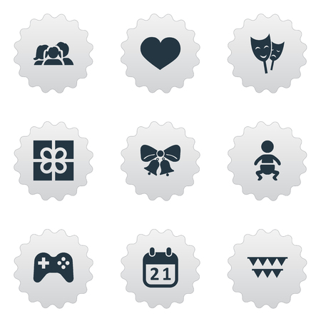 Vector Illustration Set Of Simple Birthday Icons. Elements Game, Infant, Resonate And Other Synonyms Play, Theater And Present. Illustration