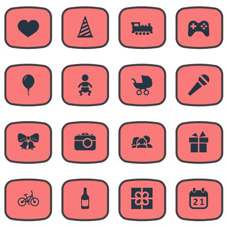 Vectorillustratiereeks Eenvoudige Vieringspictogrammen. Elementen Spel, ziel, doos en andere synoniemen Baby, gevoelens en fiets.