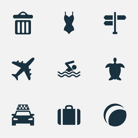 packet driver: Vector Illustration Set Of Simple Beach Icons. Elements Beach Games, Garbage, Swimming Man And Other Synonyms Adventure, Tortoise And Beach.