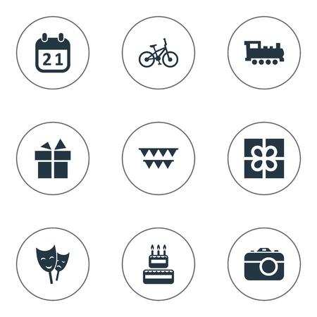 簡単なお祝いアイコンのベクター イラスト セット。ボックス要素カメラ、菓子類、鉄道および他の同義語、提示、自転車します。