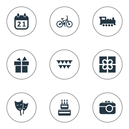 Vector Illustration Set Of Simple Celebration Icons. Elements Camera, Confectionery, Train And Other Synonyms Box, Present And Bicycle.