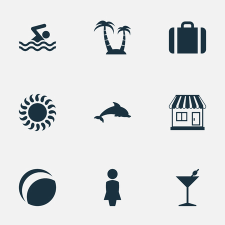 Vector Illustration Set Of Simple Beach Icons. Elements Mammal Fish, Woman, Palm And Other Synonyms Luggage, Swimming And Beach. Illustration