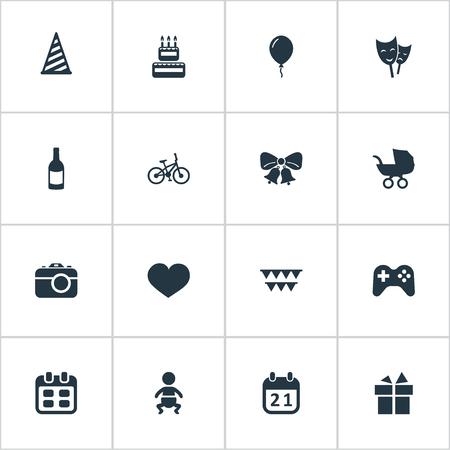 Vector illustratie Set van eenvoudige verjaardag iconen. Elementen camera, kinderwagen, pet en andere synoniemenpartij, zuigeling en acteur.