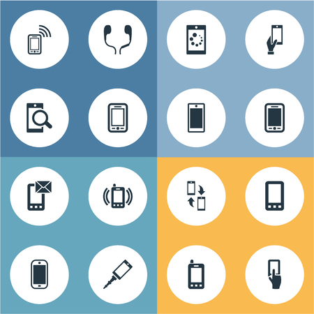 Vector Illustration Set Of Simple Smartphone Icons. Elements Using A Telephone, Screen, Linkage Implement And Other Synonyms Earphone, Headphones And Casing.