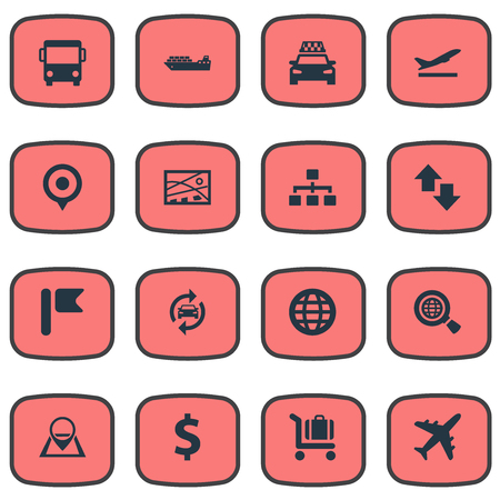 Vector Illustration Set Of Simple Transportation Icons. Elements Exporation, Navigation, Banner And Other Synonyms Navigation, Exploration And City. Banco de Imagens - 82342556