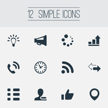 Vector Illustration Set Of Simple Interaction Icons. Elements Internet Access, Pinpoint, Remove Cantact And Other Synonyms User, Loading And Access.