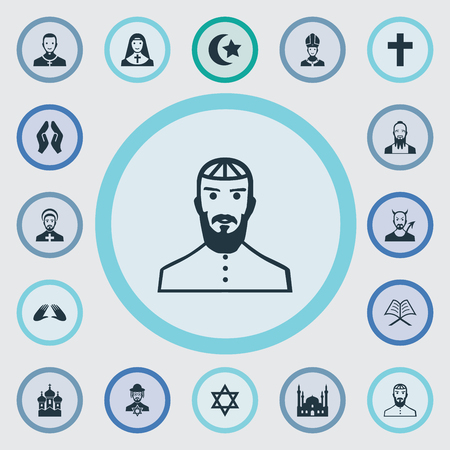 Vector Illustration Set Of Simple Religion Icons. Elements Catholic, Orison, Muslim And Other Synonyms Star, Muslim And Chapel.
