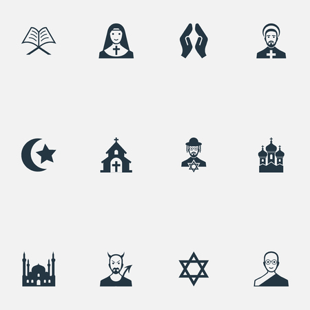 Vector Illustration Set Of Simple Religion Icons. Elements Muslim, David Star, Priestess And Other Synonyms Christian, Monk And Islam. Stock Vector - 82342560