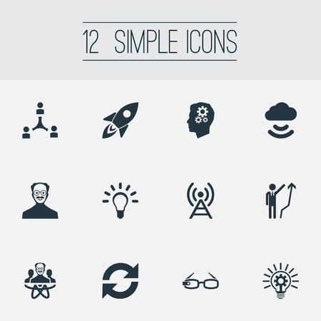 単純な創造性アイコンのベクター イラスト セット。要素ハイテク眼鏡、開発、電球、その他類義語チームの成長と明るい。