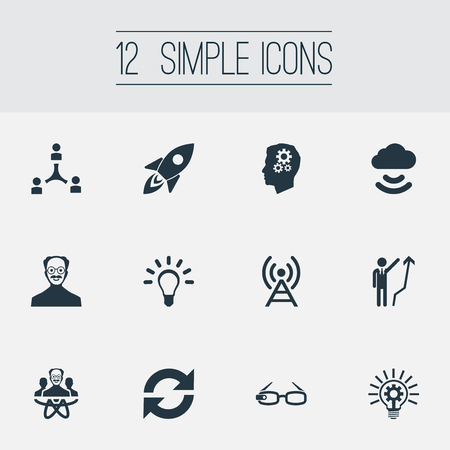 Vector Illustration Set Of Simple Creativity Icons. Elements Hi-Tech Spectacles, Development, Bulb And Other Synonyms Team, Growth And Bright. Ilustração