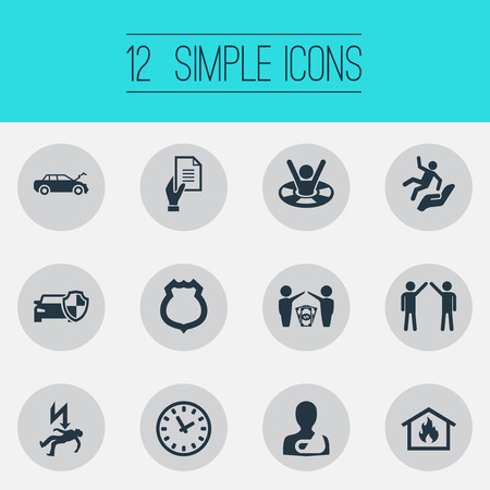 Vector Illustration Set Of Simple Safeguard Icons. Elements Protected Vehicle, Automobile Damage, Job Accord And Other Synonyms Rescue, Police And Insurance.