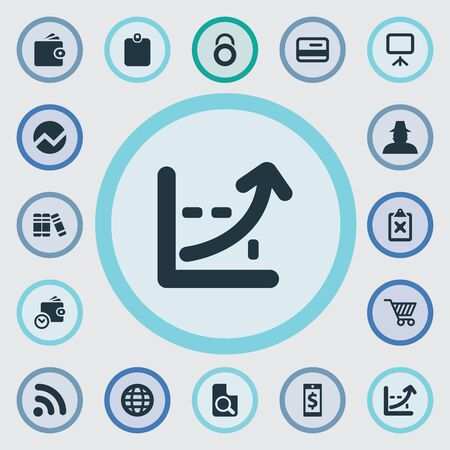 Vector Illustration Set Of Simple Investment Icons. Elements Statistic, Authentication, Electronic Payment And Other Synonyms Cart, Currency And Non-Cash.
