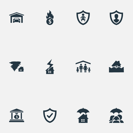 Vector Illustration Set Of Simple Insurance Icons. Elements Vehicle Assurance, Protect From Torrent, Kid And Other Synonyms Protection, Fuse And Hurricane.