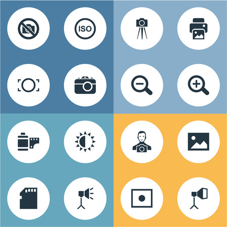 Vector Illustration Set Of Simple Photograph Icons. Elements Magnifying, Brilliance, Luminous Origin And Other Synonyms Man, Noise And Camcorder. Illustration