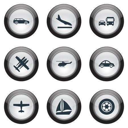 Vector illustratie Set van eenvoudige zending iconen. Elementenvervoer, Militaire Vechter, Downgrade en Andere synoniemenjacht, Schip en Straal.
