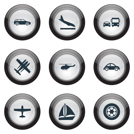 Vector Illustration Set Of Simple Shipment Icons. Elements Transport, Military Fighter, Downgrade And Other Synonyms Yacht, Ship And Jet. Stock Vector - 82342564