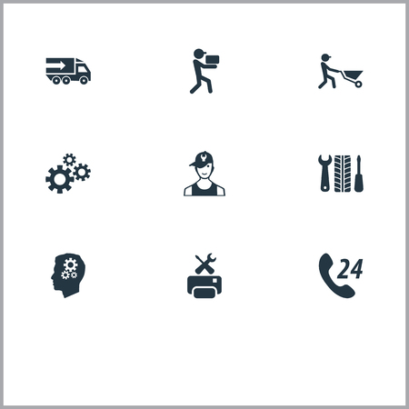 Vector Illustration Set Of Simple Service Icons. Elements Industry, Technician, Wheel Service And Other Synonyms Engine, Engineering And Printer.