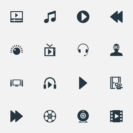 Vector Illustration Set Of Simple Multi Icons. Elements Music Listening, Rewind, Earmuff And Other Synonyms Cam, Listen And Reel. 向量圖像